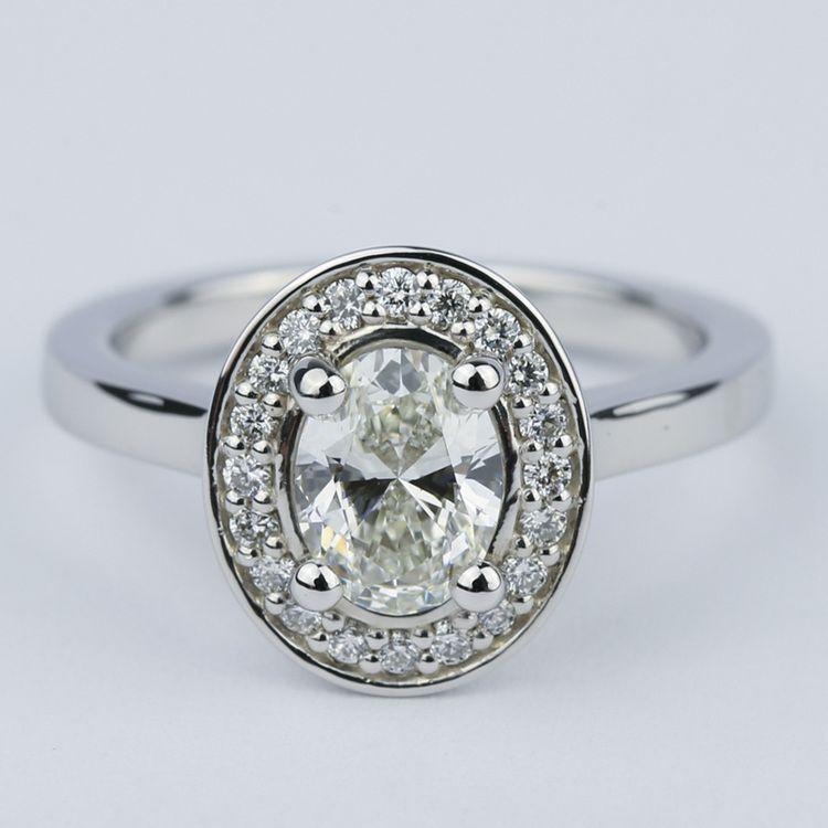 1 Carat Oval Cut Diamond with Halo Ring Setting