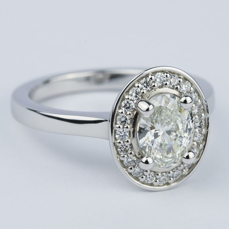 1 Carat Oval Cut Diamond with Halo Ring Setting