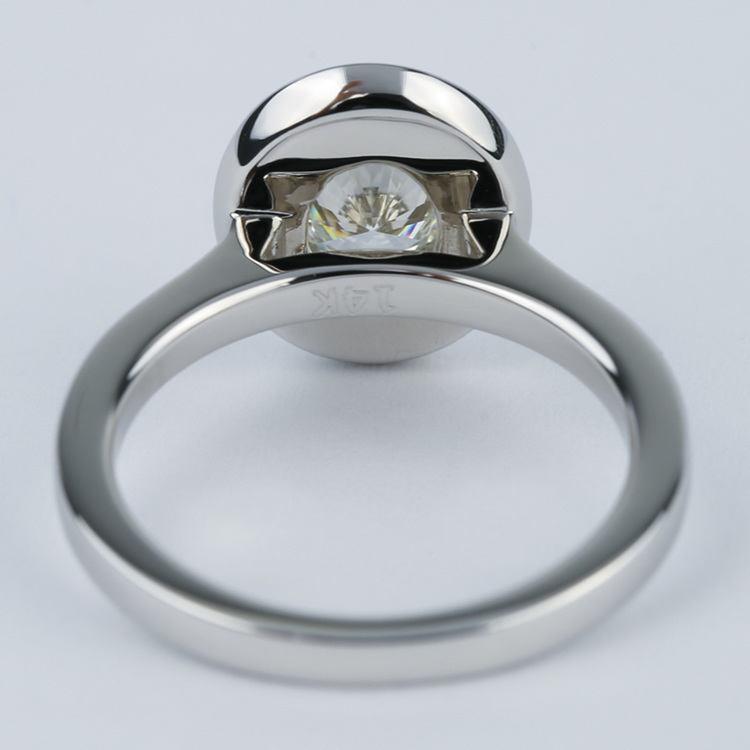 1 Carat Oval Cut Diamond with Halo Ring Setting angle 4