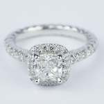 Twisted Rope Cushion Diamond Halo Engagement Ring - small