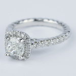 Twisted Rope Cushion Diamond Halo Engagement Ring - small angle 2