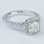 Twisted Rope Cushion Diamond Halo Engagement Ring - small angle 3