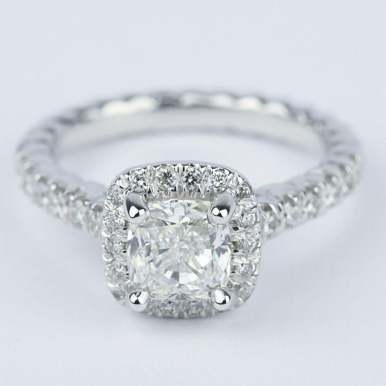 Twisted Rope Cushion Diamond Halo Engagement Ring