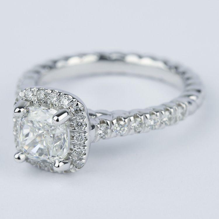 Twisted Rope Cushion Diamond Halo Engagement Ring angle 2