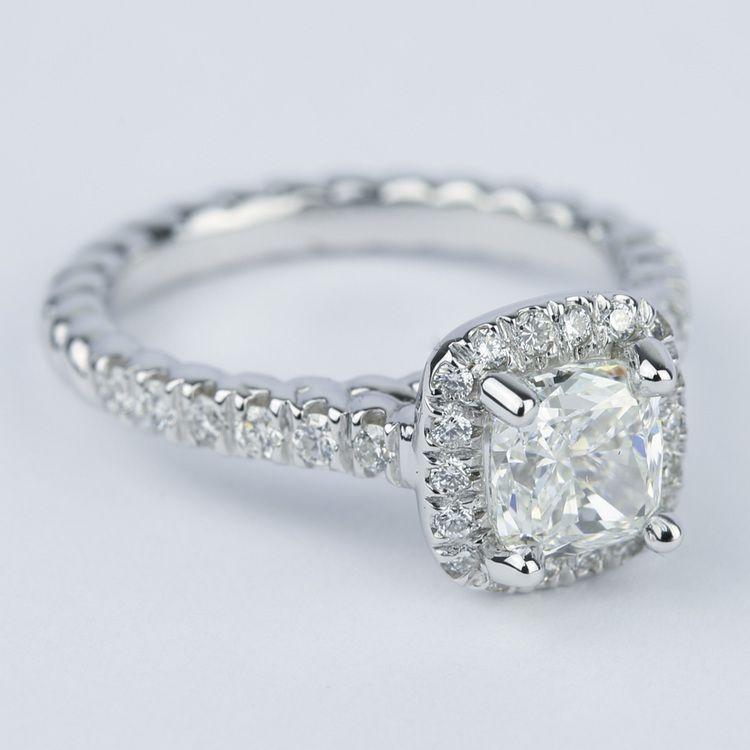 Twisted Rope Cushion Diamond Halo Engagement Ring angle 3