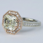 Two-Tone Antique Halo Engagement Ring with Asscher Diamond (3 Carat) - small angle 2