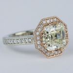 Two-Tone Antique Halo Engagement Ring with Asscher Diamond (3 Carat) - small angle 3