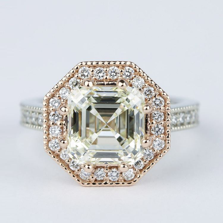 Two Tone Antique Halo Engagement Ring With Asscher Diamond 3 Carat