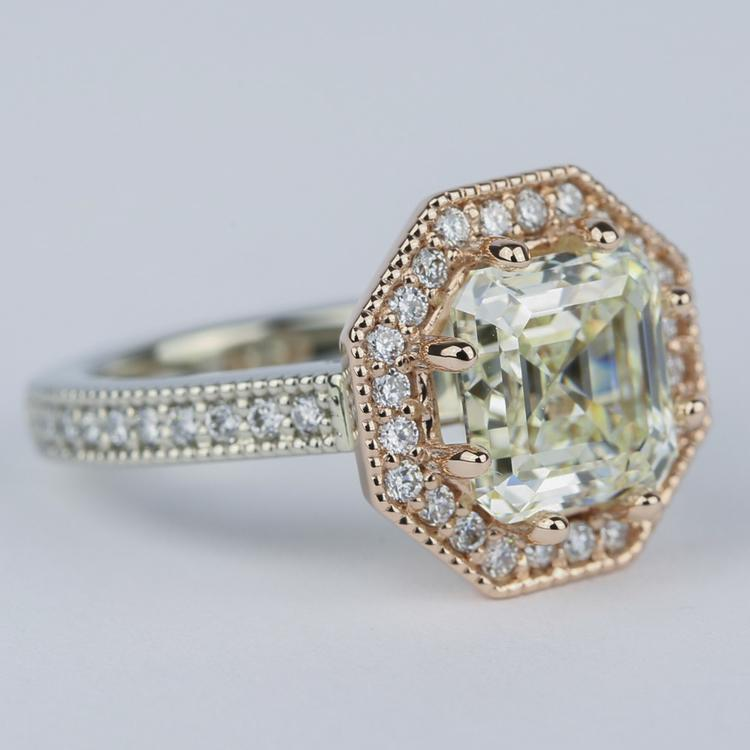 Two-Tone Antique Halo Engagement Ring with Asscher Diamond (3 Carat) angle 3