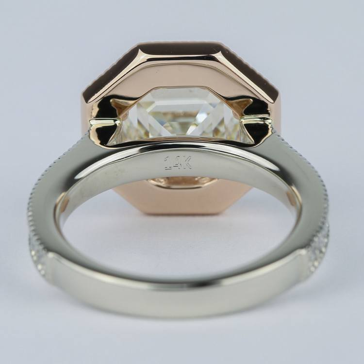 Two-Tone Antique Halo Engagement Ring with Asscher Diamond (3 Carat) angle 4