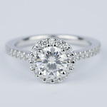 Halo Round Diamond Engagement Ring in White Gold (1.01 Carat) - small