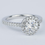 Halo Round Diamond Engagement Ring in White Gold (1.01 Carat) - small angle 3