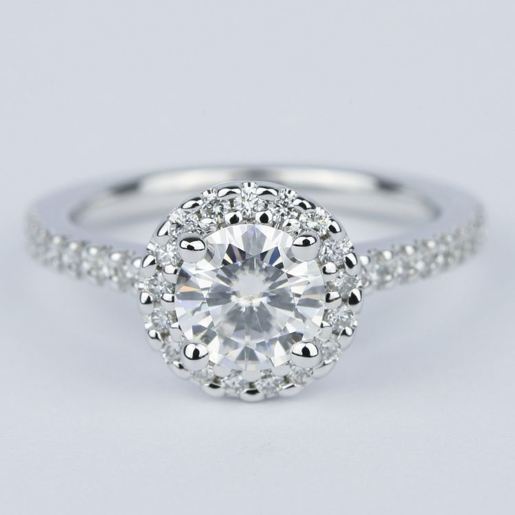 Halo Round Diamond Engagement Ring in White Gold (1.01 Carat)
