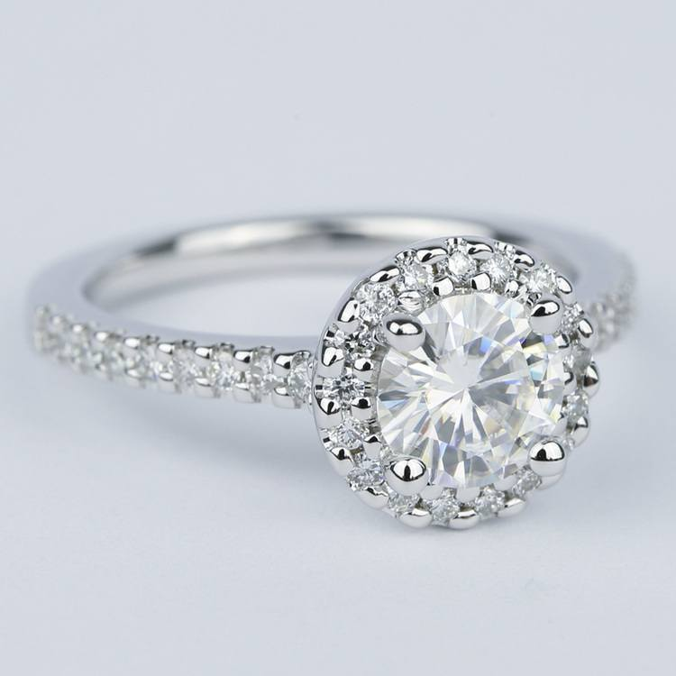Halo Round Diamond Engagement Ring in White Gold (1.01 Carat) angle 3
