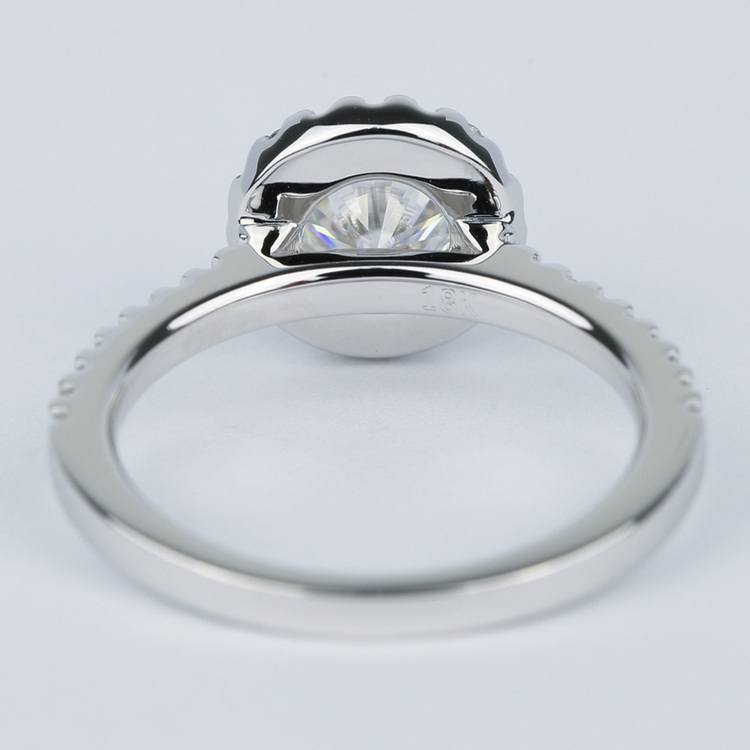 Halo Round Diamond Engagement Ring in White Gold (1.01 Carat) angle 4