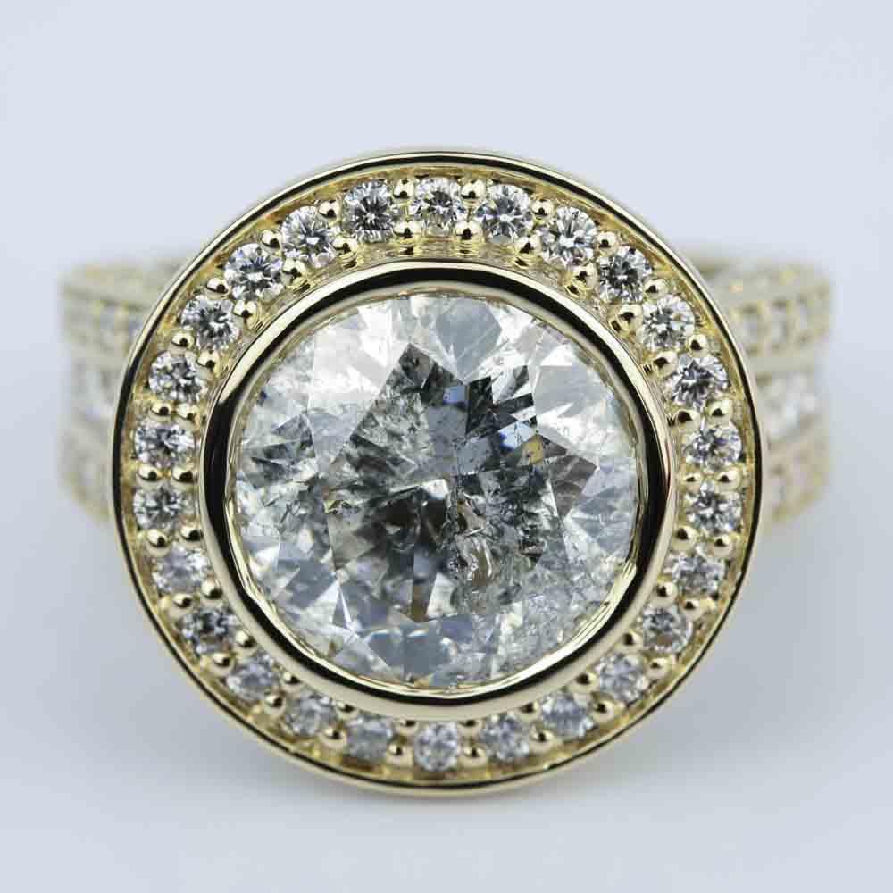 Halo Bezel Diamond Engagement Ring 6 Carat