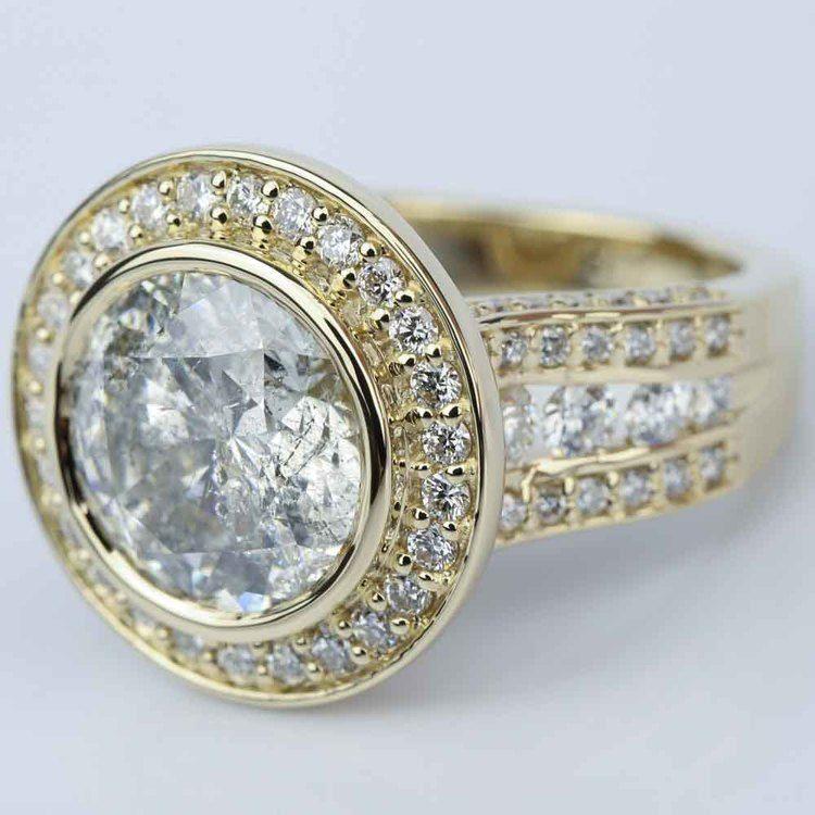 Halo Bezel Diamond Engagement Ring (6 Carat) angle 2