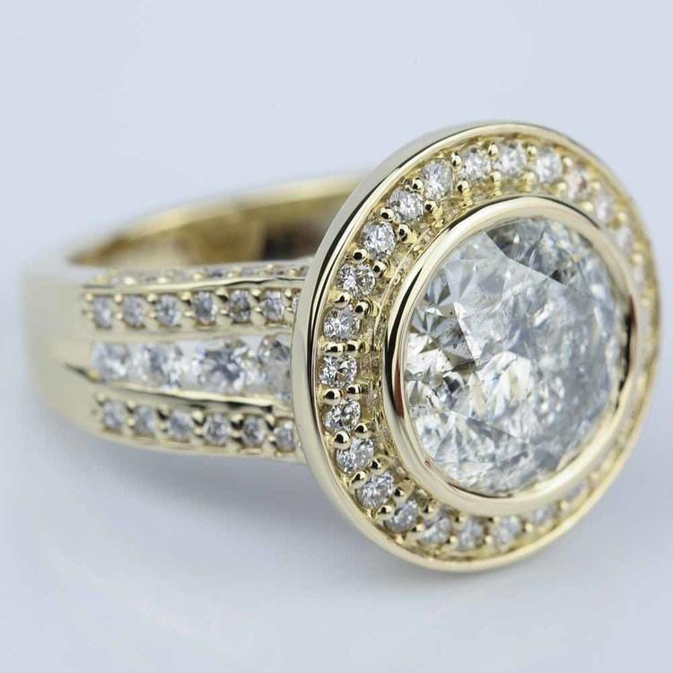 Halo Bezel Diamond Engagement Ring (6 Carat) angle 3