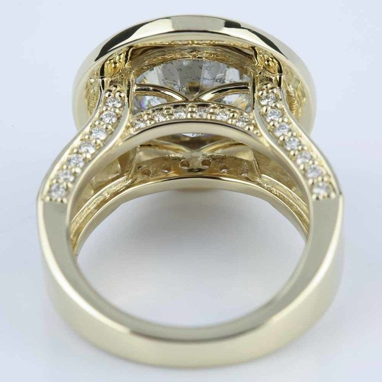 Halo Bezel Diamond Engagement Ring 6 Carat