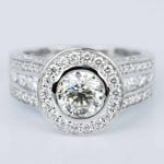 Halo Bezel Diamond Engagement Ring in White Gold (1.52 ct.) - small