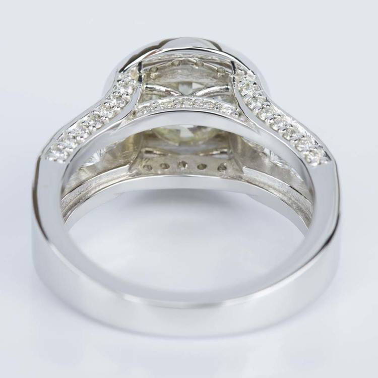 Halo Bezel Diamond Engagement Ring in White Gold (1.52 ct.) angle 4
