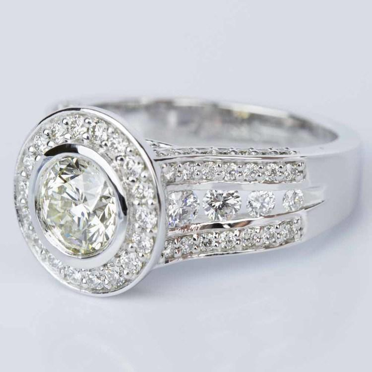 Halo Bezel Diamond Engagement Ring in White Gold (1.52 ct.) angle 2