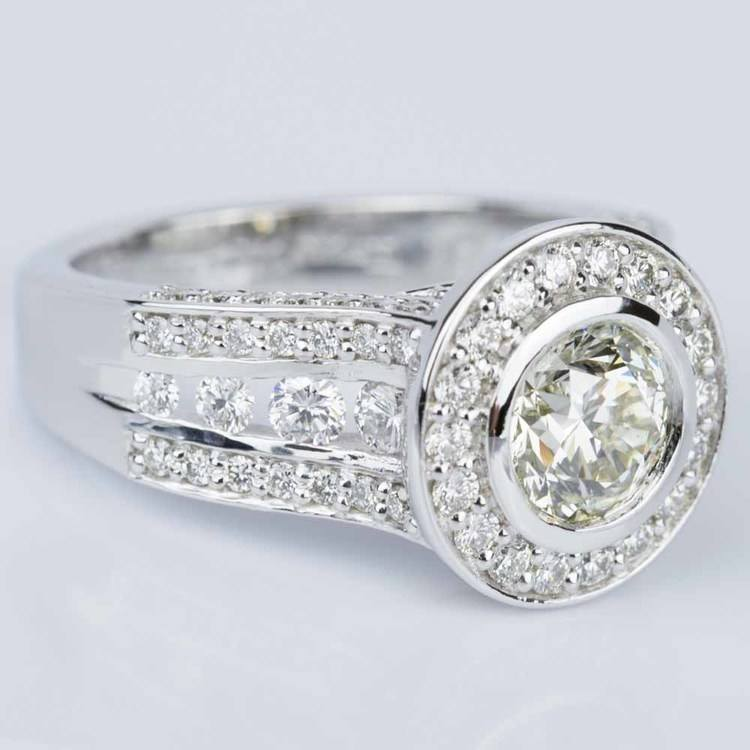 Halo Bezel Diamond Engagement Ring in White Gold (1.52 ct.) angle 3