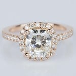 Halo Cushion Diamond Engagement Ring in Rose Gold (2.01 ct.) - small