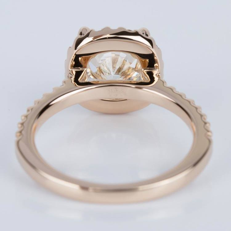 Halo Cushion Diamond Engagement Ring in Rose Gold (2.01 ct.) angle 4