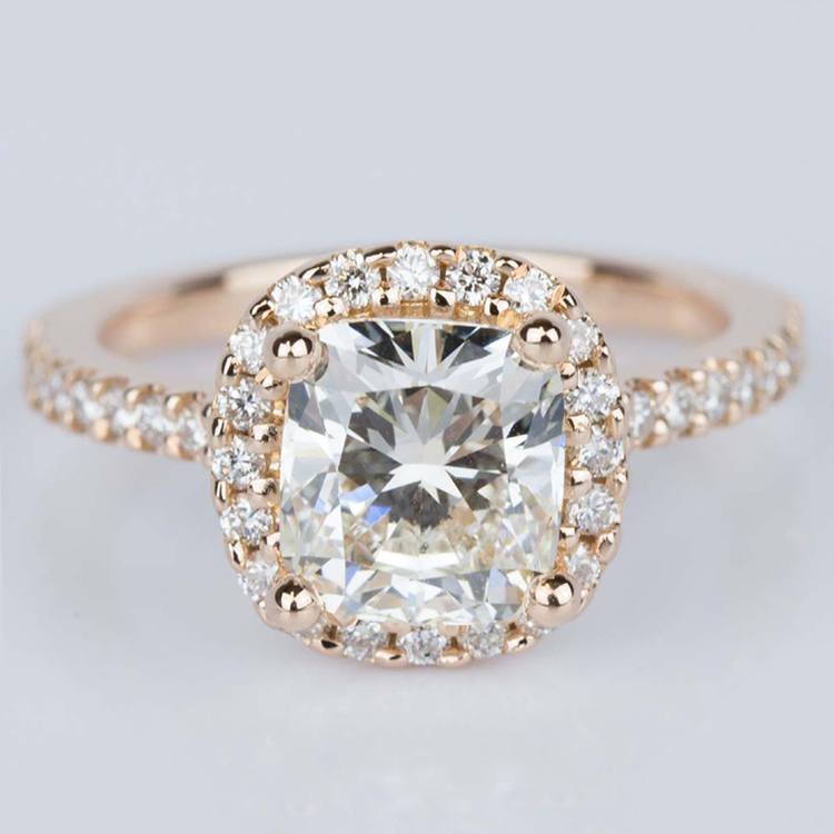 Halo Cushion Diamond Engagement Ring in Rose Gold (2.01 ct.)