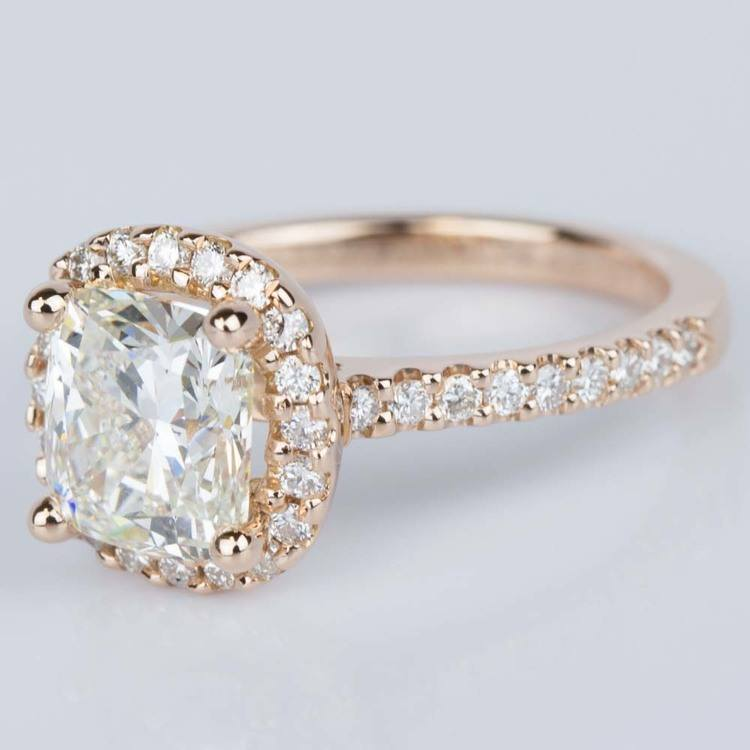 Halo Cushion Diamond Engagement Ring in Rose Gold (2.01 ct.) angle 2