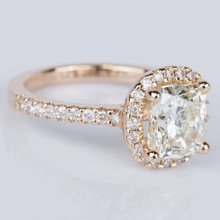 Halo Cushion Diamond Engagement Ring in Rose Gold (2.01 ct.) angle 3
