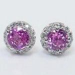 Pink Sapphire Earrings with Diamond Halos (3 Carat) - small angle 2