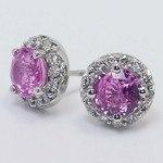 Pink Sapphire Earrings with Diamond Halos (3 Carat) - small angle 3