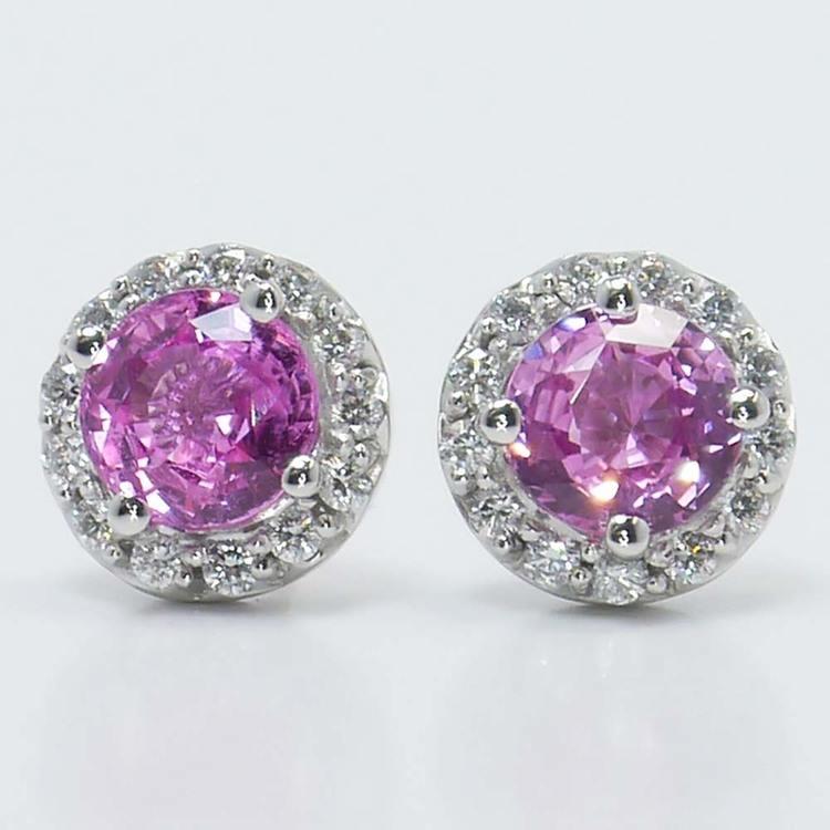 Pink Sapphire Earrings with Diamond Halos (3 Carat)
