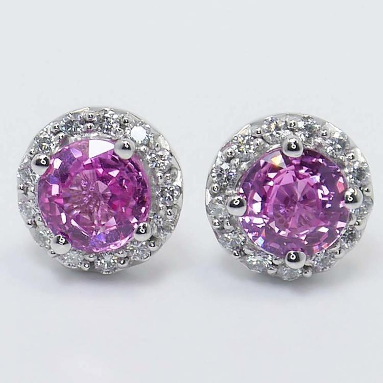 Pink Sapphire Earrings with Diamond Halos (3 Carat) angle 2