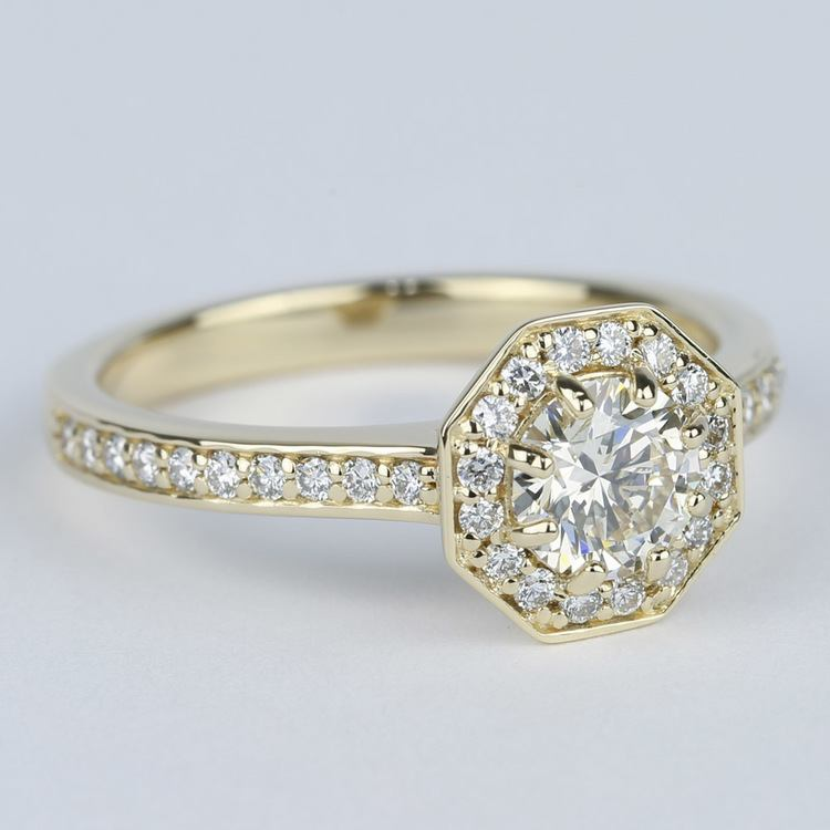 Octagon Halo Diamond Engagement Ring (0.80 ct.) angle 3