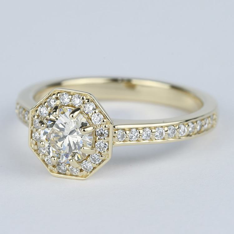 Octagon Halo Diamond Engagement Ring (0.80 ct.) angle 2