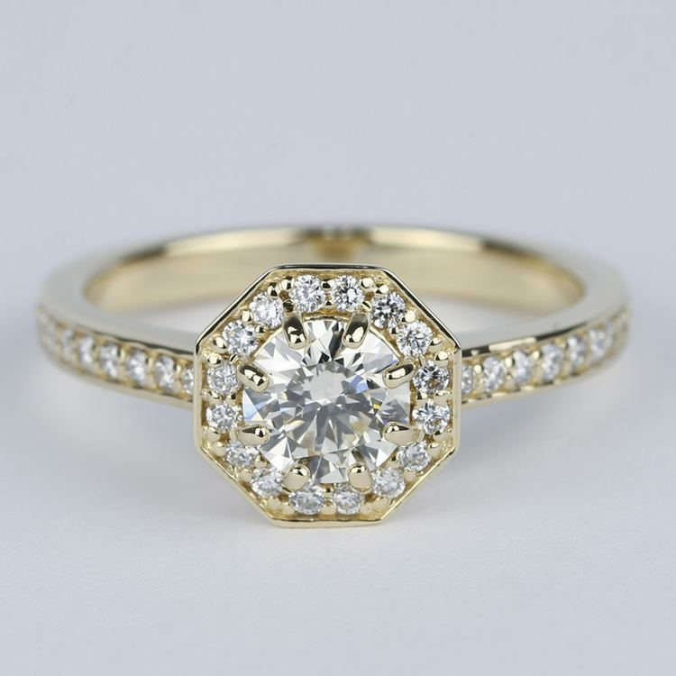 Octagon Halo Diamond Engagement Ring (0.80 ct.)