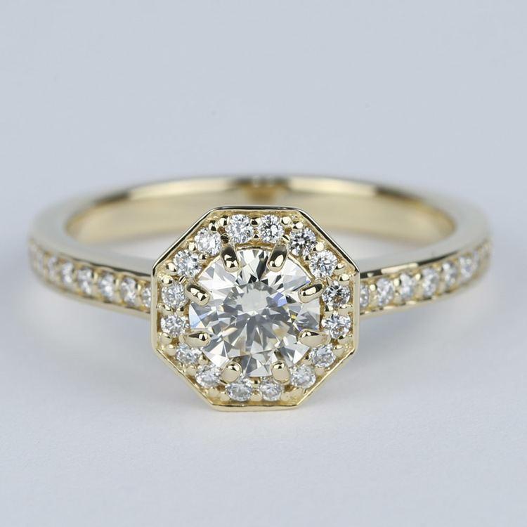 octagon halo diamond engagement ring  0 80 ct