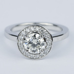 Floating Halo Round Diamond Engagement Ring (0.90 ct.) - small