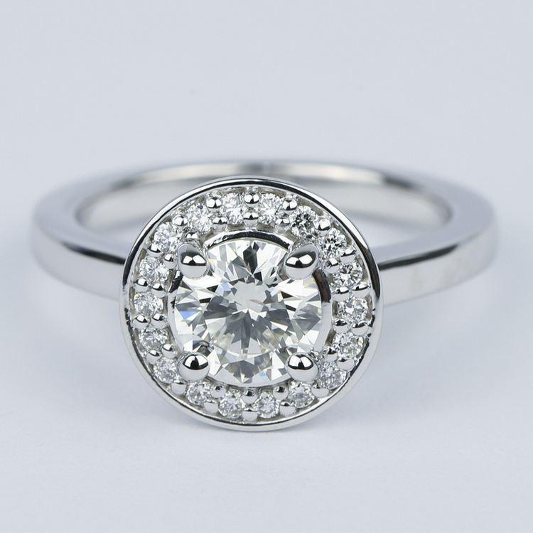 Floating Halo Round Diamond Engagement Ring (0.90 ct.)
