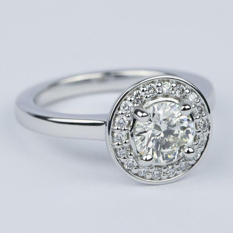 Floating Halo Round Diamond Engagement Ring (0.90 ct.) angle 3