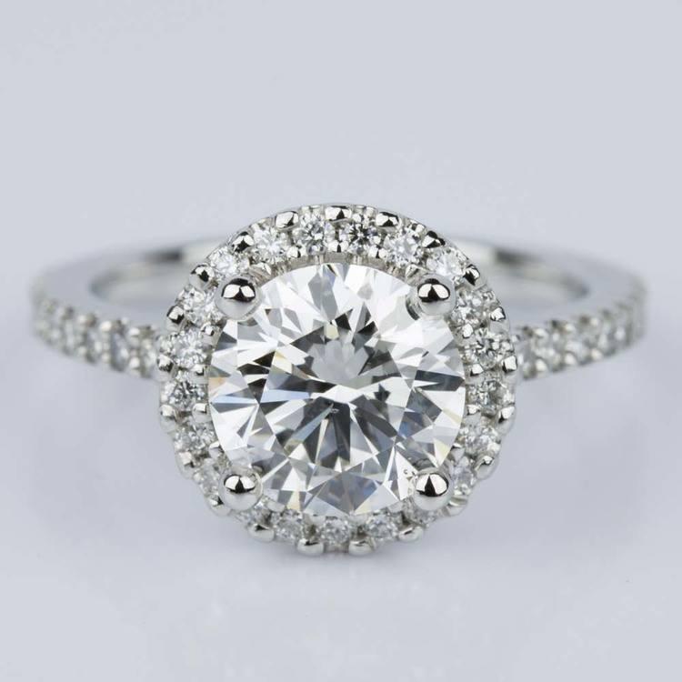 Halo Diamond Engagement Ring in Platinum (2.02 ct.)