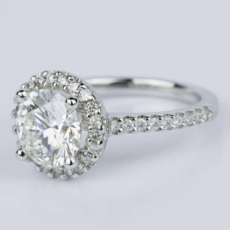 Halo Diamond Engagement Ring in Platinum (2.02 ct.) angle 2