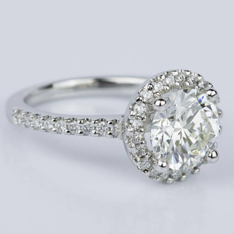 Halo Diamond Engagement Ring in Platinum (2.02 ct.) angle 3