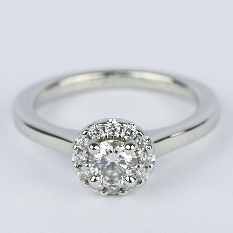 Classic Halo Diamond Engagement Ring in Platinum (0.39 ct.)