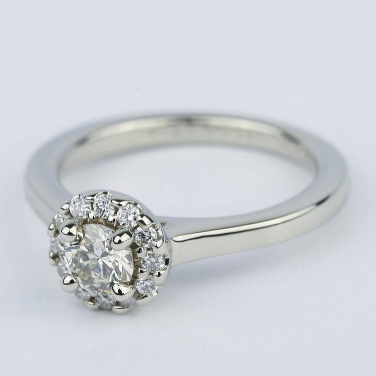 Classic Halo Diamond Engagement Ring in Platinum (0.39 ct.) angle 2