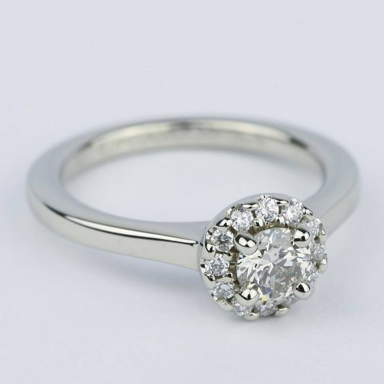 Classic Halo Diamond Engagement Ring in Platinum (0.39 ct.) angle 3