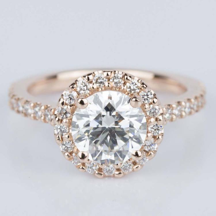 Halo Diamond Engagement Ring in Rose Gold (1.25 ct.)